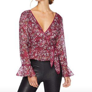 Finders Keepers Floral Bell Sleeve Wrap Blouse L